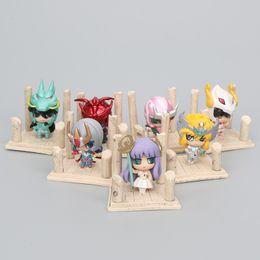 Japanese Box Set Australia - 7pcs set anime Saint Seiya Gold Saint Egg Box PVC Action Figure Knights of the Zodiac Toy Japanese Model Figure Q Edition gift