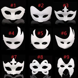 Adult white blAnk fAce mAsk online shopping - 300pcs DIY hand painted Halloween white face mask crown butterfly blank paper mask masquerade cosplay mask kid draw party masks props