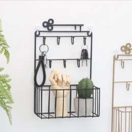 storage key organizer Australia - Wall-Mount Key Mail Holders with 7 Hooks and Storage Basket, Decorative Wire Letter Organizer Hair Accessory Rack for Entryway, Home, Office
