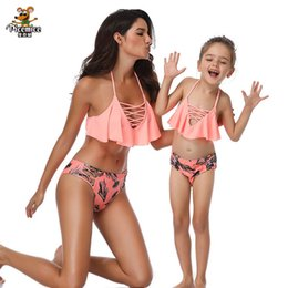family swimwear UK - Family Swimwear Mommy And Me Orange Leaf Print Swimsuit For Mom And Daughter Men Boy Shorts Matching Swimsuits