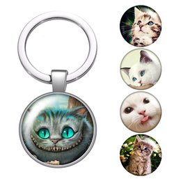 cute keychains for bags NZ - Cute Cat Love Pets Cats Glass Cabochon Keychain Bag Car Key Chain Ring Holder Charms Silver Keychains For Men Women Gifts
