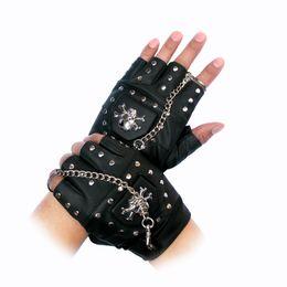 $enCountryForm.capitalKeyWord Australia - New gothic punk cool men male boy blackDisco dance rock-and-roll fingerless short PU leather gloves free shipping