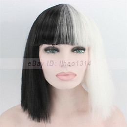 $enCountryForm.capitalKeyWord Australia - Black and White Halloween Cos Wig Short Bob Kinky Straight Hair