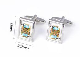 silver enamel cufflinks 2019 - 10pairs lot Silver Poker Spade K Cufflinks Enamel Copper Cuff Links Men's Jewelry Gift Wholesale cheap silver ename