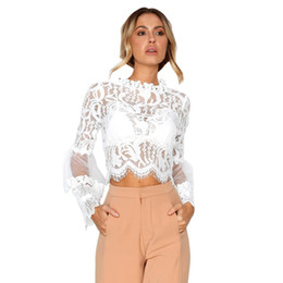white blouse long sleeve women UK - Sexy White Lace Blouse Hollow Out Women Elegant Flare Sleeve Summer Blouses Female Casual Long Sleeve Tops Blusa