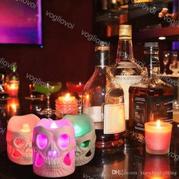 skull decor for halloween Canada - Halloween Decorations Skull Candle Light Colorful Gradient Night Light Novel Products For Halloween Home Decor Toy New Style EUB