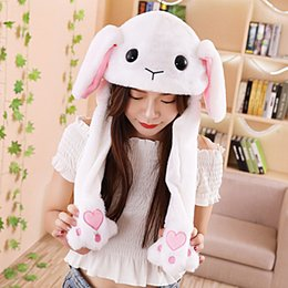 Toy Hats NZ - 2018 Fashion Moving Hat Rabbit Ears Plush Sweet Cute Airbag Cap 9 Pattern Can Be Choose Women Kids Cap Toy Christmas Gift 7G0398