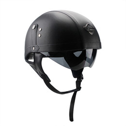 Leather Half Helmets Australia - Motorcycle Motorbike Rider Half PU Leather Retro Harley Helmet Visor With Collar Vespa Open Face Half Motor with dual lens