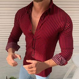 Mens large dress shirt size online shopping - 2019 Chemise Homme Mens Autumn Loose Fashion Casual Daily Striped Long Sleeve Shirt Top Slim Blouse Dress Large Size S M L XL