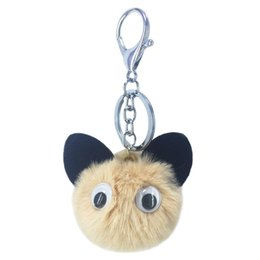 Artificial Chains Wholesalers Australia - New cute big eyes panda fur key chain pendant artificial fur lady bag car key pendant accessories holiday gifts.