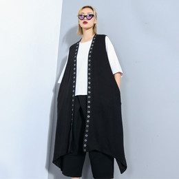 Wholesale vests for womens for sale - Group buy Womens Long Vests CHICEVER Spring Female For Long Open Stitch Coat Sleeveless V Neck Irregular Hem Loose Oversize Pacthwork Sequin Outerwear