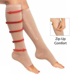 $enCountryForm.capitalKeyWord NZ - Zip Sox Zip-Up Zippered Compression Knee Socks Supports Stockings Leg Open Toe Hot Shaper Black and Beige by DHL 50pcs