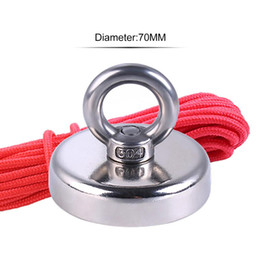 neodymium magnets holes NZ - Super Strong Fishing Magnet Neodymium Magnet With Countersunk Hole And Eyebolt 20M Rope Pulling Force 110Kg Support Wholesale