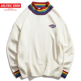 $enCountryForm.capitalKeyWord Australia - Aelfric Eden Patch Design Knitwear Rainbow Collar Casual Sweaters Men Sweater High Quality Harajuku Retro Knit Streetwear Fc38 T190618