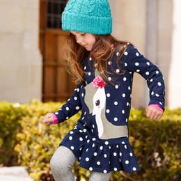 $enCountryForm.capitalKeyWord Australia - good quality Cute Navy Blue Dots Deer Pattern Girls Long Sleeve Dress Cotton Fabric Children's Clothing Kids Clothes