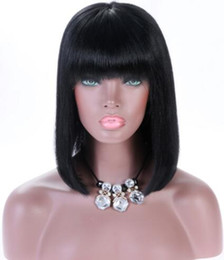 $enCountryForm.capitalKeyWord Australia - Celebrity Wig Lace Front Wig with Bang Long Bob Cut 10A Malaysian Human Hair Full Lace Wigs for Black Women Fast Free Shipping