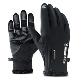 touch fingers 2019 - None Unisex winter warmer Outdoor Waterproof ski Gloves Winter Touch Screen Thermal Full Finger Inner Plush Skiing Glove