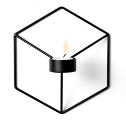 holiday candle holders UK - 21cm Candle Holders Nordic Style 3D Geometric Candlestick Metal Wall Candle Holder Sconce Matching Small Tealight Home Ornaments
