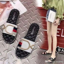 Wholesale 2019 new online red slippers female summer outside wearing a hundred flat bottom drag summer outdoor personality fashion cool slippers