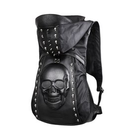 $enCountryForm.capitalKeyWord Australia - Fashion Personality 3D skull leather backpack western rivets stud backpack with Hood cap apparel bag cross bags hiphop man