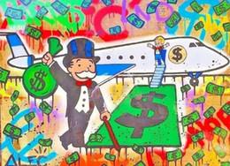 Airplane Art Australia - Alec Monopoly High Quality Handpainted & HD Print Abstract Graffiti Art Oil Painting Airplane On Canvas Wall Art Home Decor g73