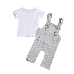 cute baby white t shirt NZ - Baby Girls Set Girl Jumpsuit Cute Overall + Short Sleeve White T Shirt Baby 2pcs Clothing Suit Infant Cotton Clothes