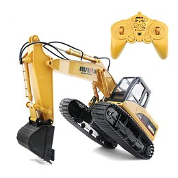 Electric Charged Car NZ - Huina 1550 Rc Crawler 15ch 2 .4g 1 :14 Metal Excavator Charging 1 :12 Rc Car With Battery Rc Alloy Excavator Rtr For Kids