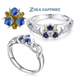 zelda rings NZ - The Legend Of Zelda Crystal 925 Sterling Silver Zora Zora's Sapphire Ocarina Of Time Engagement Ring C19042001