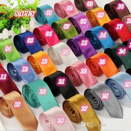 Beige Silk Tie Australia - Top Quality Fashion Mens Skinny Plain Satin Tie Solid Color Wedding party Neck ties Formal Business Men silk Neckties 40 colors