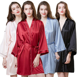 Ladies siLk nightgowns Long online shopping - Hot Selling Lady Sleepwear Silk Simulated Nightgown Women Mid long Sleeve Morning Gown Ice Silk Bath Gown Woman s Pyjamas Home Clothing