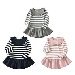 $enCountryForm.capitalKeyWord Australia - Spring Autumn Baby Girl Dress 3-12T Girls Dress 3 Colors Casual Cotton Striped Ruched Lace Long Sleeve Knitting Pleated