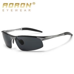 aoron polarized sunglasses 2019 - AORON Driving Polaroid Sun Glasses Aluminum Frame Sports Sunglasses Men Polarized Driver Retro Goggles Anti-glare Goggle