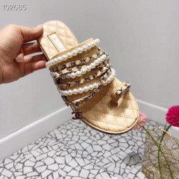 facacb0a7abb Beaded slippers online shopping - New French brand summer slippers high  quality cowhide chain beaded women