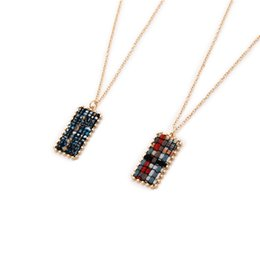 Red Rectangle Pendant Australia - European and American Style INS Style Geometric Rectangle British Grid Female Sweater Necklace Pendant Necklace N5207