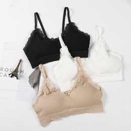 $enCountryForm.capitalKeyWord NZ - Hot sexy women bra fashion lace Patchwork Bras V Neck Crop Top Strappy lingerie bra underwear sweet wire free Bra