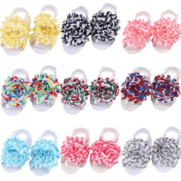 hair wristbands Australia - 13pcs lot chevron shabby trim flower chiffon flower headband Baby foot Headband Wristband Hair Bands Barefoot Sandals