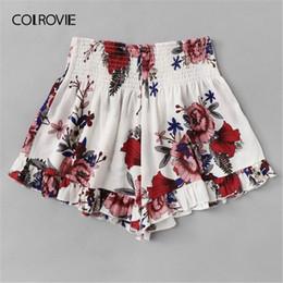 $enCountryForm.capitalKeyWord Australia - Colrovie Plus Size White Floral Print Elastic Waist Ruffle Hem Boho Shorts Women 2019 Summer Casual Beach Style Wide Leg Shorts T4190617