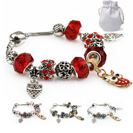 $enCountryForm.capitalKeyWord NZ - Red Crystal Beads Charm Bracelets Women Stainless Steel Fit Pandora Bangles Silver Gold Plated Owl Pendant Diamond Hollow Jewelry Logo P37