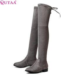 $enCountryForm.capitalKeyWord NZ - QUTAA 2018 Women Inter Keep Warm Fashion Over The Knee High Boots Short Plush Inside Square Heel Ladies Casual Boots Size 34-43