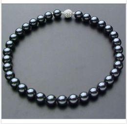 ba8f7da72fb4 Xcc stunning10-11mm tahitian natural redondo azul azul collar de perlas 18  pulgadas de plata