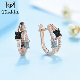 real black roses UK - Kuololit 585 Rose Gold Clip Earrings For Women Girl Real 925 Sterling Silver Black Silver glitter Earrings for Wedding Party CX200623