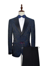 suits blazers pattern NZ - Floral Pattern Wedding Tuxedos Mens Evening Party Men Suits Slim Fit Custom Made Wedding Blazer (Jacket+Pants)