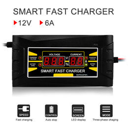 Wholesale 110V V Intelligent Full Automatic Car Battery Charger V A Digital display Smart Fast Power Charging For Car Motorcycle With EU US Plug