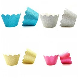 CupCakes deCorative online shopping - Four Colors Glitter Cupcake Wrappers Safety Non Toxic Cup Cake Liners Paper For Home Wedding Birthday Party Dessert Decor Supplies hw BB