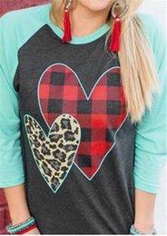 $enCountryForm.capitalKeyWord Australia - S-2XL Women Pullover Wrist Length Sleeve T shirt 2019 Spring Plaid Leopard Heart Print Sanding Tee Tops Valentine's Day Gifts for Girls