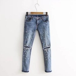 $enCountryForm.capitalKeyWord Australia - Zebery Light Blue Scratched Hole Jeans Woman Tight Trousers Pearl Decoration Fashion Retro Jeans For Women's Clothing Y190429
