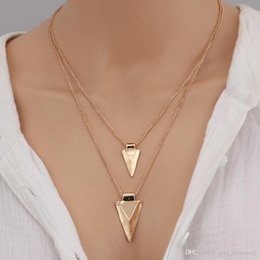 two layer necklace Canada - Fashion sexy design simple style two layers necklace alloy triangle pendant Gold color plated metal chain