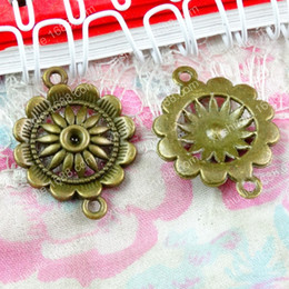 $enCountryForm.capitalKeyWord Australia - 50pcs 28*21MM Antique bronze sun flower sunflower connector charms for bracelet vintage metal pendants earring handmade DIY jewelry making
