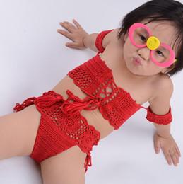 Handmade Suit Baby Australia - 2019 Off Shoulder Handmade Crochet Bikini Children Cotton Swimsuit Girls Swimwear For Baby Toddler Beachwear Strappy Bikini Bathing Suits