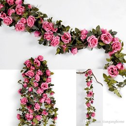fake vines decoration UK - High Quality210cm Fake Big Silk Roses Ivy Vine Artificial Flowers With Leaves Home Wedding Party Hanging Decoration Garland Decor Rose Vine